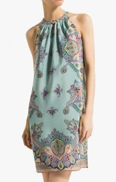 Love Love LOVE this Pale Blue Fabric Design! Awesome Design Detailing! Short Sleeves Pale Blue Shift Vintage Print Dress #Sexy #Pale_Blue #Vintage #Summer #Fashion