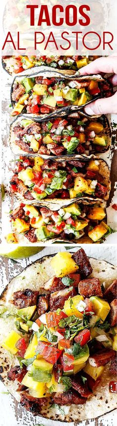 Tacos Al Pastor (Video!) The BEST Tacos Al Pastor you will ever eat and SO EASY! They're exploding with restaurant-style flavor made with thinly sliced chile pineapple marinated pork, grilled to perfection and served with caramelized pineapple. Grilling Recipes, Pork Recipes, Cooking Recipes, I Love Food, Good Food, Yummy Food, Great Recipes, Dinner Recipes, Tortilla Wraps