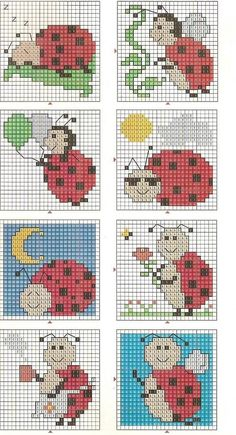 Lady bug cross stitch chart.  I'd cross stitch this onto Tunisian crochet bocks and make a baby blanket.