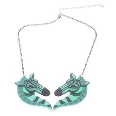 Erstwilder Retro Zebra Necklace Erstwilder collectables, centre statement piece of two zebras teal in colour. Hand painted high gloss resin. $36.95 plus shipping. Available from Designer Showcase Oz - shipping workdwide. #necklace #erstwilder #statementnecklace #collectable  (http://www.designershowcase.com.au/erstwilder-retro-zebra-necklace/)
