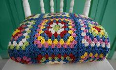 Blue retro crochet grannie blanket. My favourite colours!