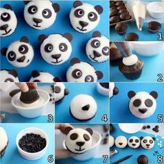 Do you like panda? When I go to San Diego Zoo, my first visit is always the Panda Cam. How lovely these panda cupcakes too! Panda Cupcakes, Minion Cupcakes, Cupcake Cakes, 12 Cupcakes, Birthday Cupcakes, Cupcake Recipes, Panda Birthday Party, Panda Party, Birthday Parties