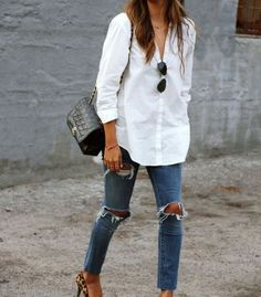 Ripped jeans white shirt
