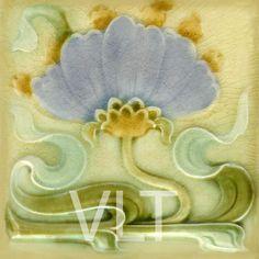 soft pastel art nouveau tile