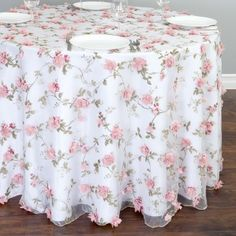 Shop for sheer tablecloths with roses at LinenTablecloth. Three-dimensional flowers are the magic behind our alluring 108 in. Round Sheer with Pink Roses Tablecloth.