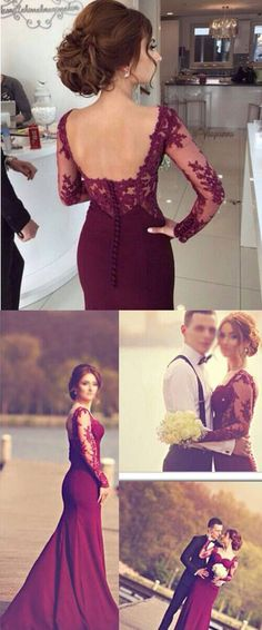 Burgundy prom/evening dresses, prom dresses with long sleeves, mermaid prom dresses, prom dresses with appliques