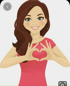 Woman making heart shape with hands vector image on VectorStock Cute Cartoon Pictures, Cute Cartoon Girl, Cute Love Pictures, Cute Love Cartoons, Cartoon Pics, Cartoon Art, Beautiful Pictures, Bisous Gif, Emoji Images