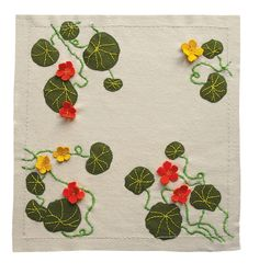 Free range Nasturtium cushion embroidery kit in pure wool applique See the range at birdiebrown.co.nz