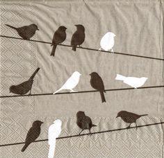 Paper Napkins Set of 4 BIRDS ON A WIRE 33cm by LanternsByTamara