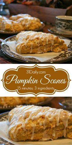 15-Minute Easy Pumpkin Scones | 31Daily.com