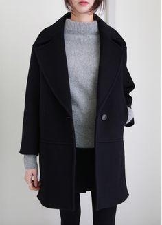 grey jumper black skinny jeans and oversize wool black coat #KoreanFashion