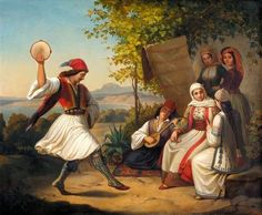 View THE GREEK DANCE Attributed to Theodoros Vryzakis; oil on canvas; Access more artwork lots and estimated & realized auction prices on MutualArt. Classical Period, Classical Art, Greek Traditional Dress, Hellenistic Period, Greek Art, Chiaroscuro, In Ancient Times, Ancient Greece, Mythology