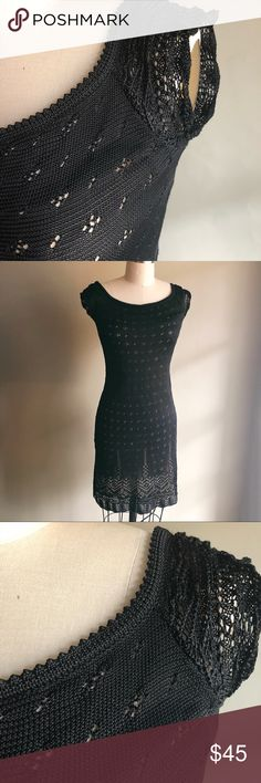 Laundry by Shelli Segal | Little Black Dress This is the dress for your next cocktail party. A crochet Little Black Dress- Laundry by Shelli Segal.  Has a separate nude slip. Size 4 form fitting, above the knee. In great condition.   Offers welcome! Laundry By Shelli Segal Dresses