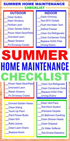 A Summer Home Maintenance Checklist will help you get your home ready inside and. - A Summer Home Maintenance Checklist will help you get your home ready inside and out for warm weath - Household Cleaning Tips, Cleaning Checklist, House Cleaning Tips, Spring Cleaning, Cleaning Hacks, Home Maintenance Schedule, Diy Home Repair, Home Management, Home Repairs