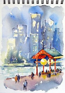 A couple of sketches I recently added to my Arches travel book. Made during my last visit to Chicago. Chicago is totally amazing. The skyscr. Watercolor Canvas, Easy Watercolor, Watercolor Sketch, Watercolor Animals, Watercolor Illustration, Watercolor Paintings, Watercolours, Watercolor Architecture, Watercolor Landscape