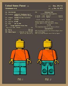 For my favorite birthday sharer Gabriel! Lego Man Patent Art Print