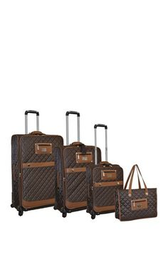 Brown Quilted Nylon Luggage Set - Set of 4 by Adrienne Vittadini on @HauteLook