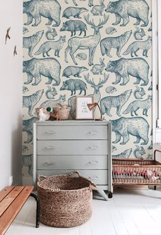 Forest animals removable wallpaper blue and beige Fun wallpaper! The post Forest animals removable wallpaper blue and beige appeared first on Sovrum Diy. Nursery Decor, Room Decor, Nursery Room, Nursery Ideas, Traditional Wallpaper, Animal Wallpaper, Forest Wallpaper, Forest Animals, Kid Spaces