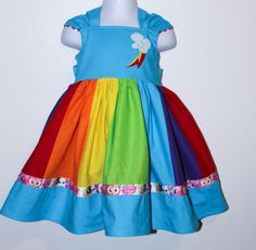 Rainbow Dash My Little Pony dress for Girls by Greensies - too. much. awesome. $55