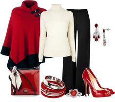 """Red Wrap"" by jayhawkmommy ❤ liked on Polyvore"