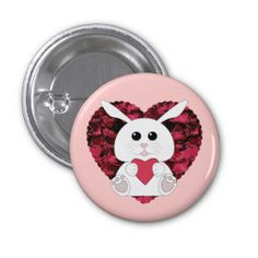 SOLD my bun bun 1st time ^^ Thank you! Cute Kawaii White bunny with Red Valentines Hearts Button by #PLdesign #KawaiiBunny #WhiteBunny #BunnyGift #LOVEgift #Hearts #ValentinesDay #ValentinesBunny #ValentinesGift #BunnyLovesYou #Button