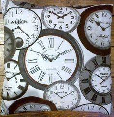 RETRO VINTAGE CLOCK FACE CUSHION COVER IN GREY/BROWN/WHITE QUALITY COTTON 20x20 #Printed