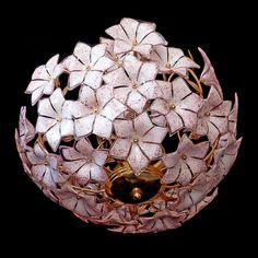 Stunning XL Large Vintage Italian Murano Pink Flower Venini Art-Glass Chandelier #Murano