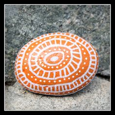 "Meditation Stone Gratitude Rock Blessed in Home Sanctuary Garden ""MY DREAMS MATTER"" Reminder (Painted Rock) Orange, Black and White"
