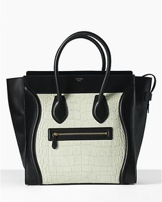 Celine Luggage Medium Handbag in Croco Cream Celine Bag, Celine Luggage, Black And White Bags, Kate Spade Purse, Shoe Box, Purses And Handbags, Fashion Handbags, Backpack Bags, Fashion Accessories