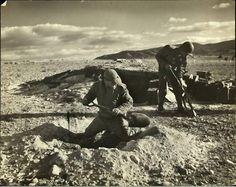 Digging foxholes in Tunisia
