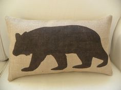 NEW - Burlap bear pillow cushion COVER. $28.00, via Etsy.
