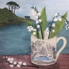 """Possibly the best yet from - 'Ravilious cup, Cornwall'"" Abstract Art, Abstract Paintings, Oil Paintings, Easter Art, Art For Art Sake, Lily Of The Valley, Art Object, Green Backgrounds, Flower Art"