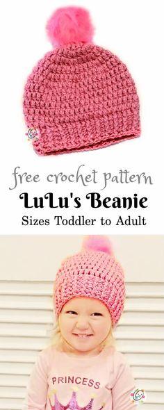 Free Pattern: Lulu's Beanie #freebeaniepattern #crochetbeanie #crochethat #trendingbeanie #freepattern Easy Crochet Hat, Crochet Headband Pattern, Easy Crochet Patterns, Crochet For Kids, Crochet Baby, Free Crochet, Crochet Headbands, Crochet Tutorials, Crochet Stitch
