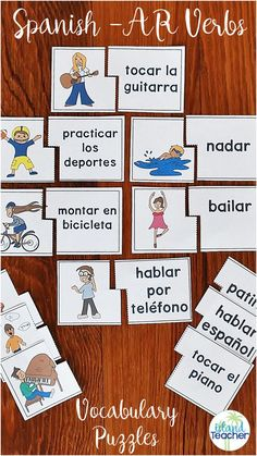 Spanish AR Verbs matching puzzles. Includes 2 Versions (color and black/white) along with suggestions for use.