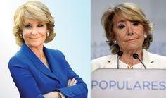 Na direita, a política espanhola Esperanza Aguirre em uma imagem das eleições no final do ano passado. A esquerda, em maio deste ano.