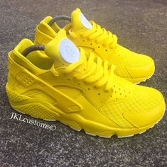 Black And Neon Yellow Nike Shoes
