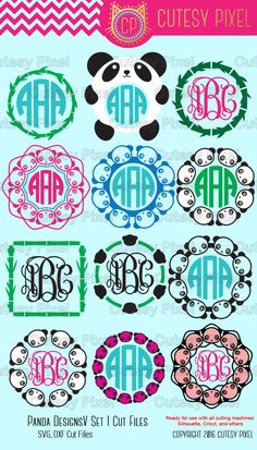 Panda Monogram Frames Svg cutting file, panda designs, SVG, DXF, Cricut Design Space, Silhouette Studio,Digital Cut Files by CutesyPixel on Etsy