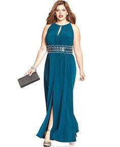 3449e8e52d5 RM Richards Women  s Plus Size Beaded Waist Halter Evening Gown Dresses For  Teens