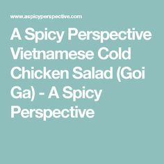 A Spicy Perspective Vietnamese Cold Chicken Salad (Goi Ga) - A Spicy Perspective