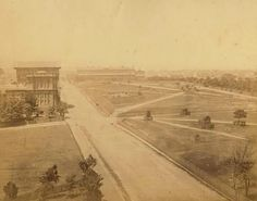 The Australian.Museum on College St,Sydney with Hyde Park at the right in 1870.