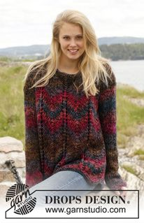 "Knitted DROPS jumper with zig-zag pattern in ""Big Delight"" and ""Vivaldi"". Size: S - XXXL. ~ DROPS Design free pattern"