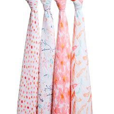 """aden+anais Silky Soft baby 1 Pack of 3 Swaddles elephant//star//blush 47/""""x47/"""" each"""
