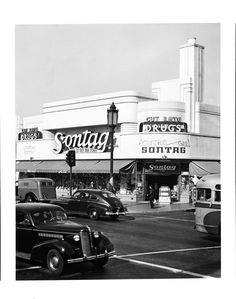 """decoarchitecture:  The term """"cut-rate"""" hasn't aged well. losangelespast:  Sontag Drug Store, on the Miracle Mile at Wilshire Boulevard and ..."""