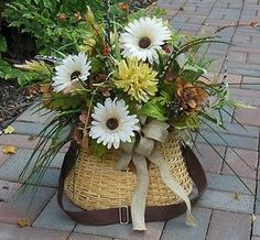Floral Daisy Fishing Creel Basket-for Door/Wall Outdoor Cabin ...