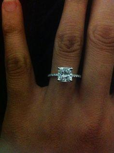 Cushion engagement ring with dainty pave band! :  wedding cushion cut custom made ring dainty band engagement ring ring Cushion