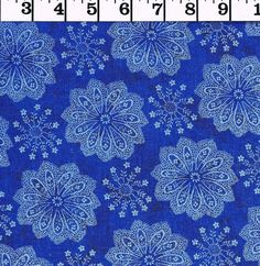 SALE  Cotton Fabric Blue and Sliver BTY quilting decor costume Holiday #Unbranded