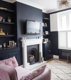 """Jess Hurrell on Instagram: """"Morning. Can't speak, our darling daughter once again thought 5am was an acceptable waking time and I stayed up an hour too late watching…"""" Dark Accent Walls, Dark Walls, Front Room Decor, Pretty Room, Wall Design, Alcove, The Unit, Contemporary, Living Room"""
