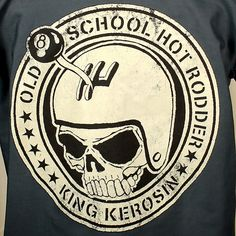 "This is a charcoal grey short sleeve button down work shirt with a round back print in off white that reads ""Old School Hot Rodder: King Kerosin"" with a gearhead skull in the center. It has two pockets in the front and above one is the King Kerosin embroidered logo.65% polyester, 35% cotton. $46"
