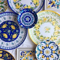 this article is not available - Mediterranean Decor Mediterranean Wall Art Mediterranean Pottery Painting, Ceramic Painting, Ceramic Art, Blue Pottery, Ceramic Pottery, Mediterranean Wall Decor, Mediterranean Style, Lemon Art, Vibeke Design