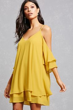 This breezy mini dress features an open-shoulder cut with cami straps, double V-cut front and back, 3/4 tiered bell sleeves, and a tiered swingy hem.<p>- This is an independent brand and not a Forever 21 branded item.</p>